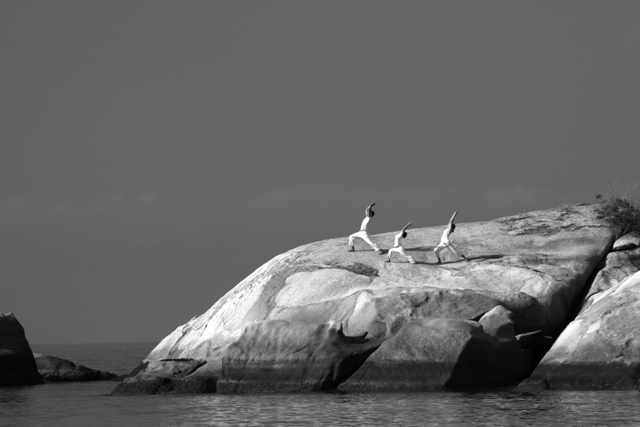 Yoga On The Rocks Black and White